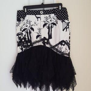 Alberto Makali lace-trimmed skirt